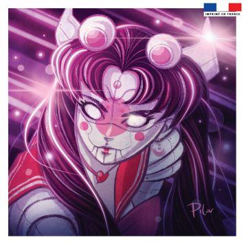 Coupon 45x45 cm violet motif fille manga - Création Pilar Berrio