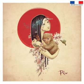 Coupon 45x45 cm beige motif singe - Création Pilar Berrio