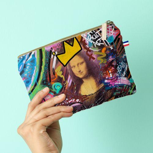 Kit pochette multicolore motif graffiti portrait - Création Alex Z