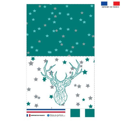 Kit pochette vert motif cerf origami