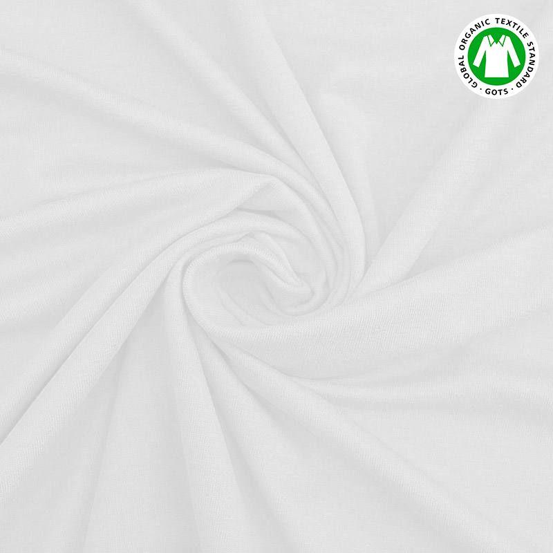 Jersey en coton bio blanc