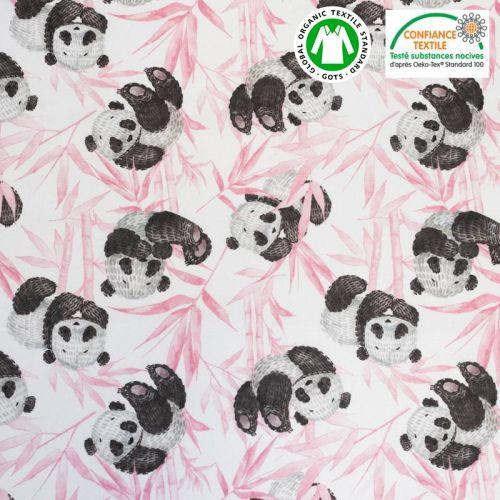Coton bio écru motif panda et feuilles roses Oeko-tex