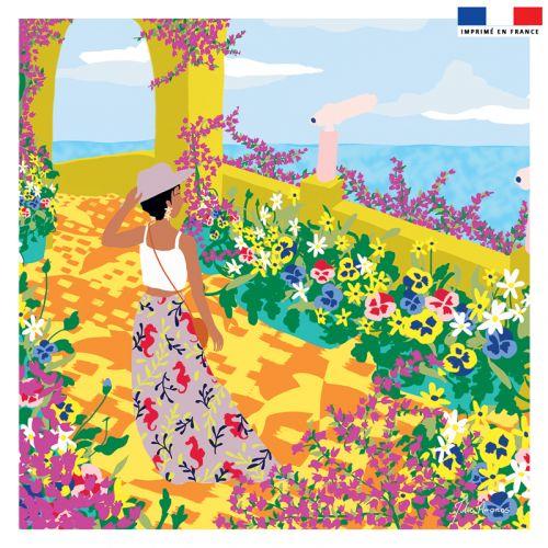 Coupon 45x45 cm jaune motif jardin au bord de la mer - Création Julia Amorós