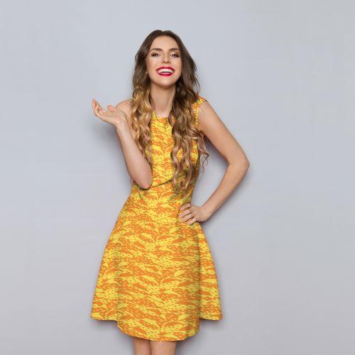 Dauphin jaune - Fond orange - Création Julia Amorós