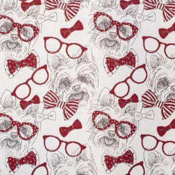 Tissu jacquard motif yorkshire rouge et blanc