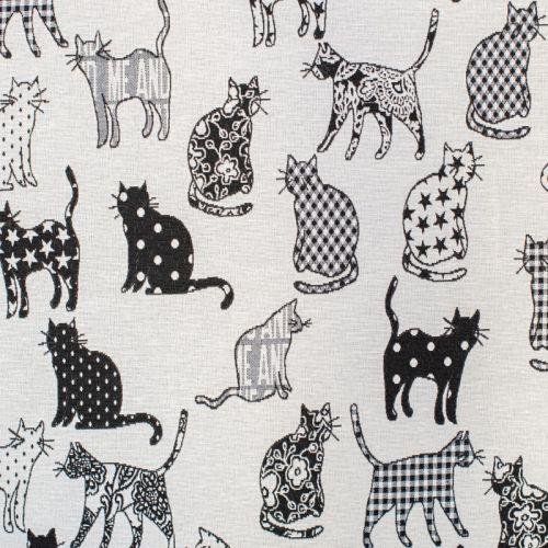 Tissu jacquard noir motif chat