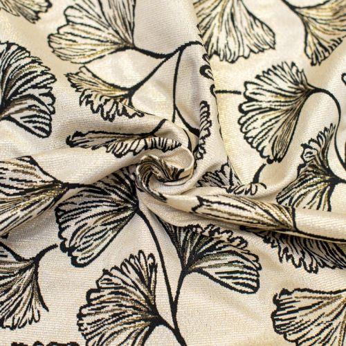 Tissu jacquard nude réversible motif ginkgo noir lurex doré