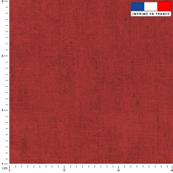 Tissu imperméable aspect lin rouge