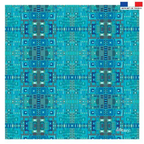 Coupon 45x45 cm turquoise motif géométrique - Création Lita Blanc