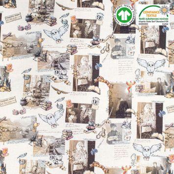 Coton bio motif Harry Potter et Poudlard Oeko-tex