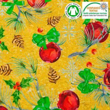 Coton or motif boules de sapin Noël rouges Oeko-tex