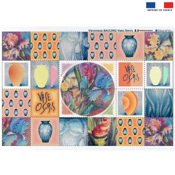 Coupon éponge pour lingettes démaquillantes motif vase Osiris - Création Véronique Baccino