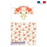 Kit pochette rose motif fleur d'hibiscus