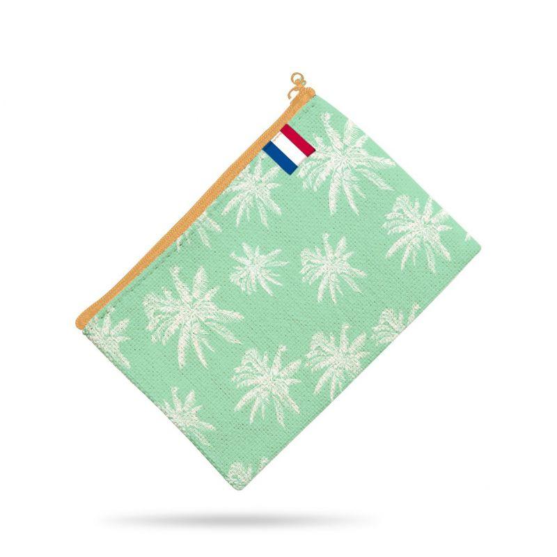 Kit pochette vert motif flamant et palmier