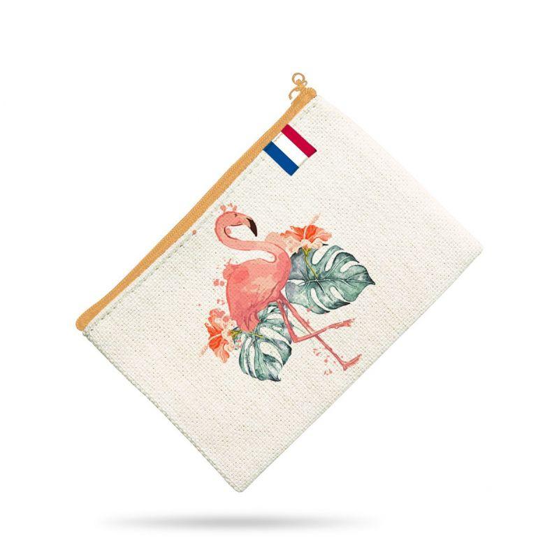 Kit pochette vert motif flamant et hibiscus