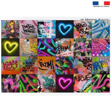 Coupon éponge pour lingettes démaquillantes motif graffiti street art - Création Alex Z