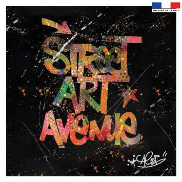 Coupon 45x45 cm noir motif street art avenue - Création Alex Z