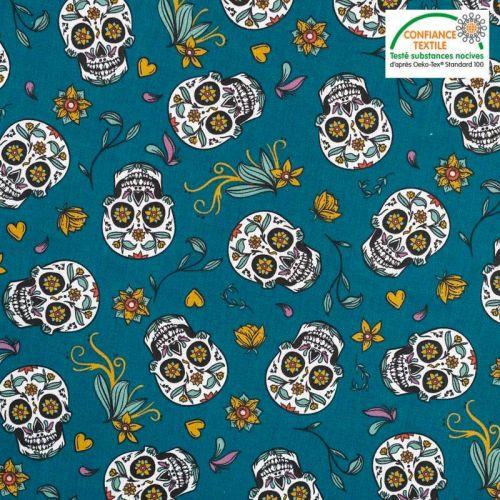 Coton bleu canard motif calavera Oeko-tex