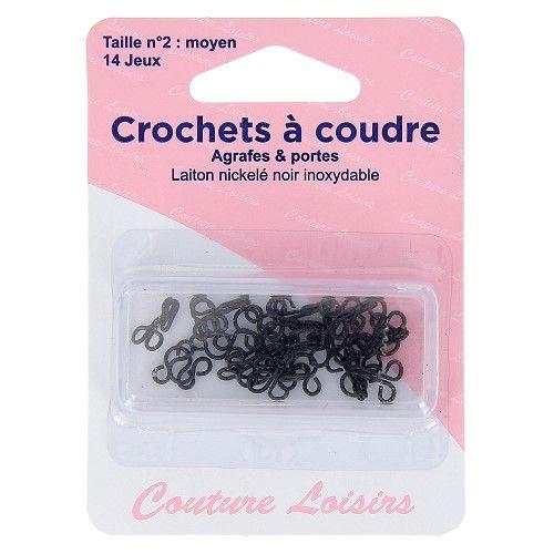Crochets à coudre noirs avec brides X14 taille 2