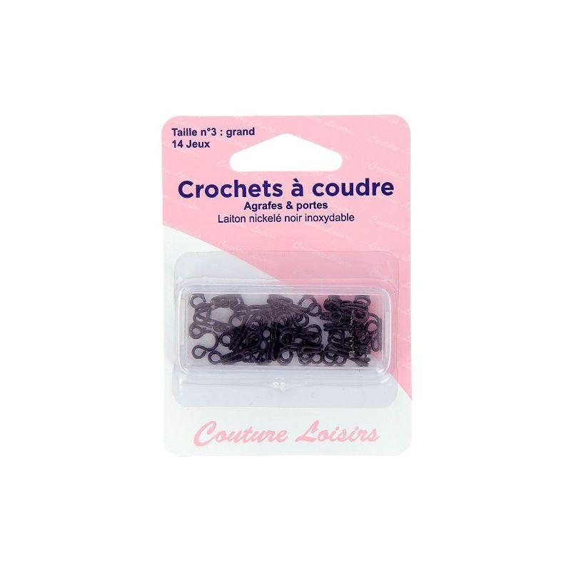Crochets à coudre noirs avec brides X14 taille 3