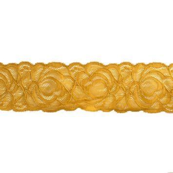 Dentelle élastique à fleurs moutarde 60mm