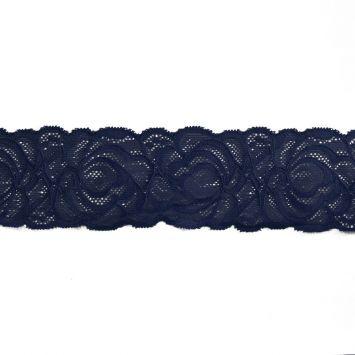 Dentelle élastique à fleurs bleu marine 60mm