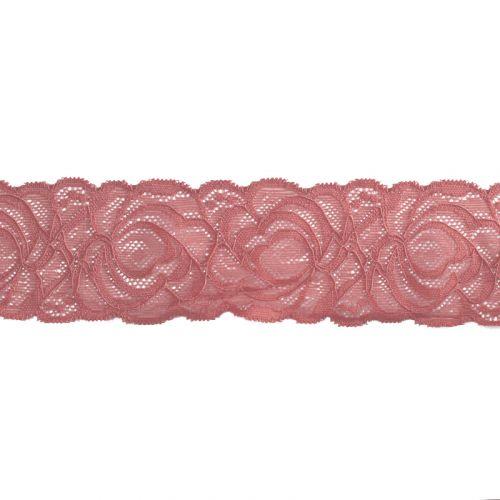 Dentelle élastique à fleurs vieux rose 60mm