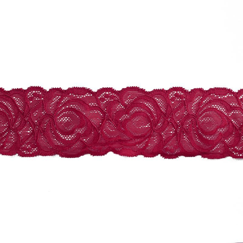 Dentelle élastique à fleurs rouge bordeaux 60mm