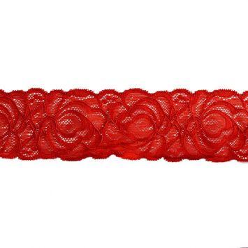 Dentelle élastique à fleurs rouge 60mm