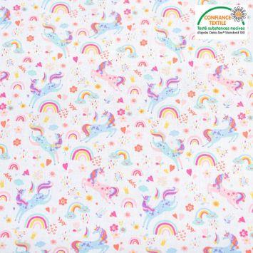 Popeline de coton blanc motif licorne et fleurs Oeko-tex