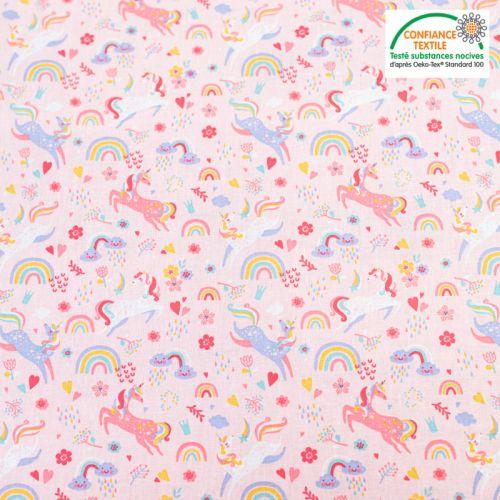 Popeline de coton rose motif licorne et fleurs Oeko-tex