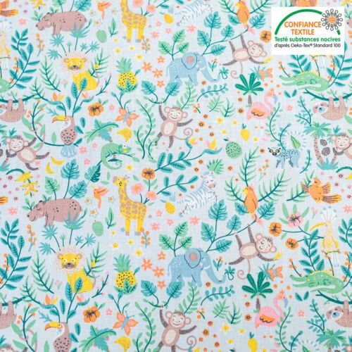 Popeline de coton bleu pastel motif animaux de la jungle Oeko-Tex