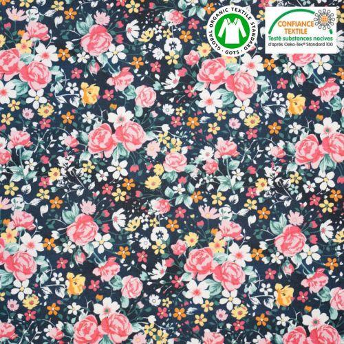 Coton bio bleu minéral motif petites fleurs roses Oeko-tex