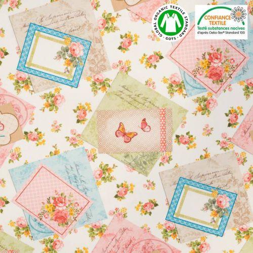 Coton bio écru motif rose et papillon Oeko-tex