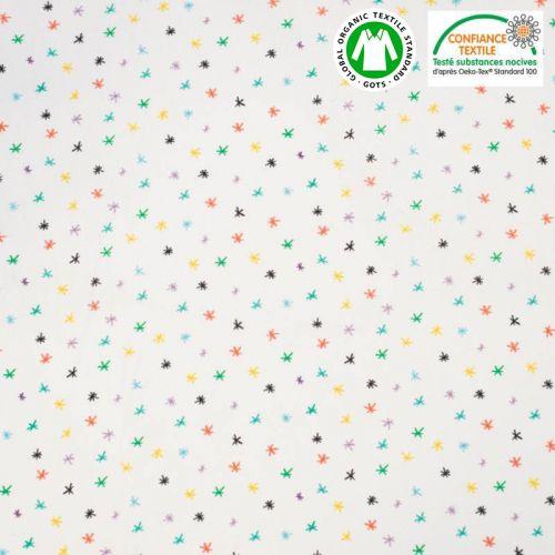 Coton bio écru motif petites étoiles multicolores Oeko-tex