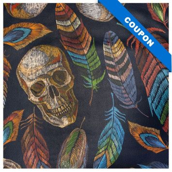 Coupon 50x68 cm - Simili cuir multicolore motif tête de mort effet brodé