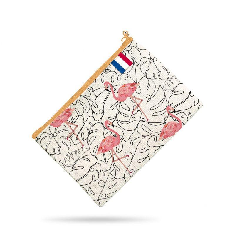 Kit pochette multicolore motif flamant rose et chevrons