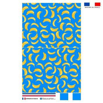 Kit pochette bleu motif banane