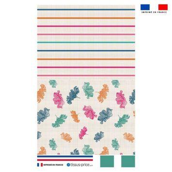 Kit pochette écru motif fleur d'hibiscus et rayure