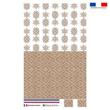 Kit pochette effet rotin motif ananas