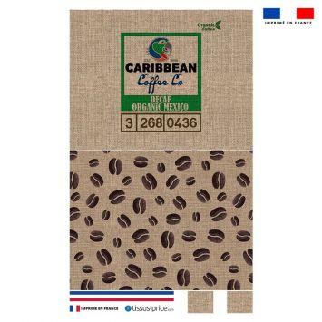 Kit pochette marron motif café effet jute