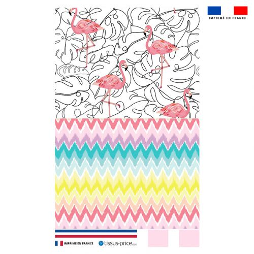 Kit pochette multicolore motif flamant rose et chevrons