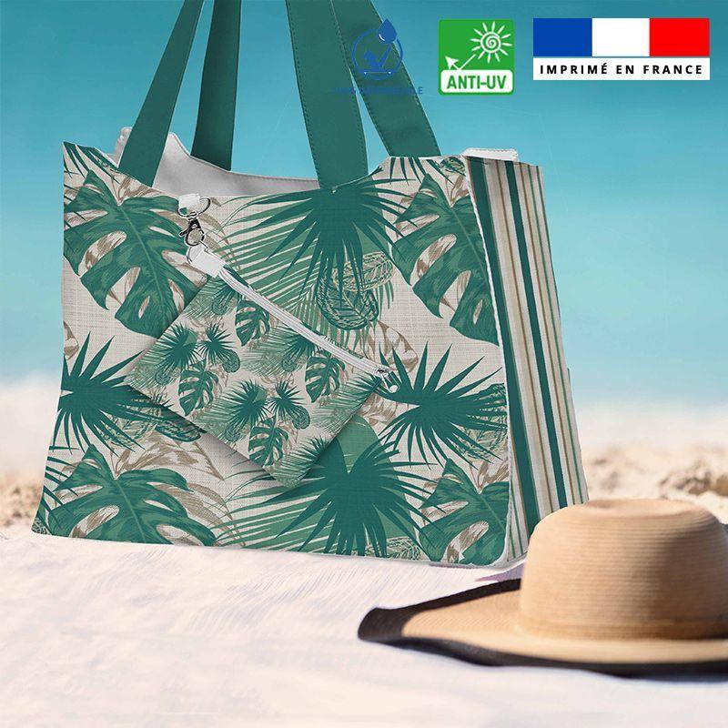 Kit sac de plage imperméable motif feuille exotique - Queen size