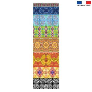 Coupon 45x150 cm tissu imperméable motif bandes colorées pour transat - Création Lita Blanc