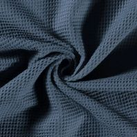 Tissu nid d'abeille uni bleu indigo