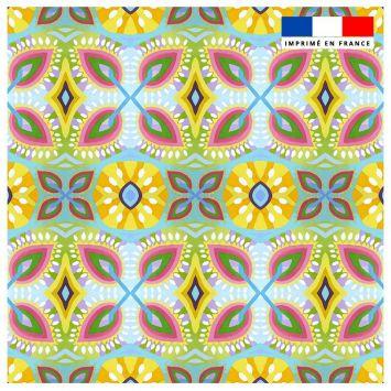 Coupon 45x45 cm bleu ciel motif fleurs géométriques - Création Lita Blanc
