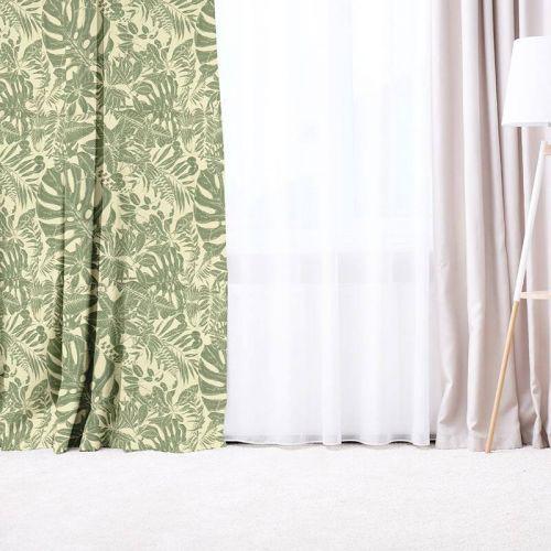 Dessin jungle vert sauge - Fond grège