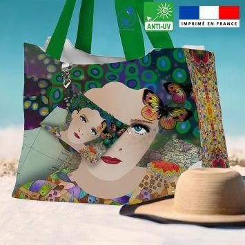 Kit sac de plage imperméable motif diva et papillons - King size - Création Lita Blanc
