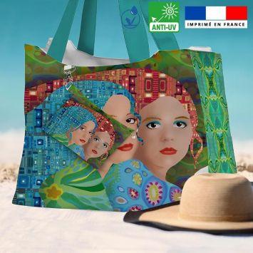 Kit sac de plage imperméable motif femme multicolore - King size - Création Lita Blanc
