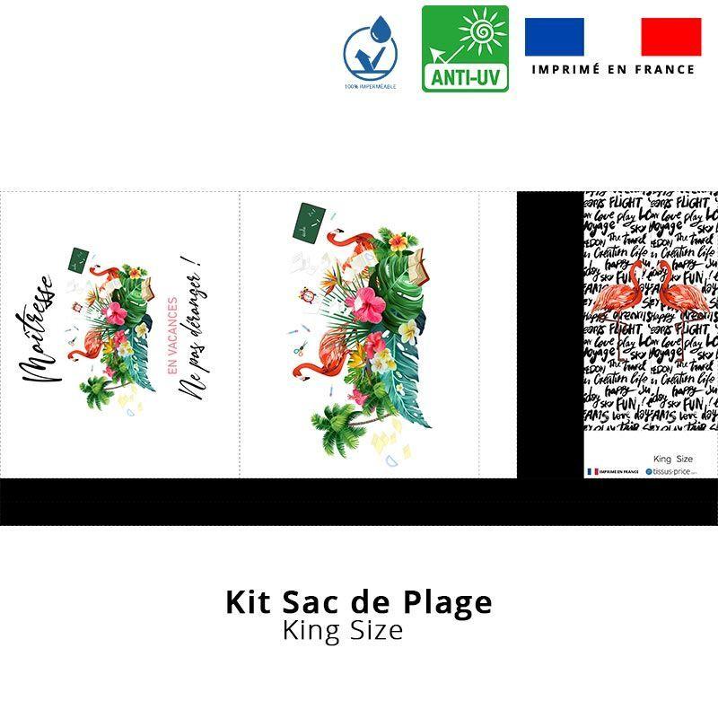 Kit sac de plage imperméable motif maîtresse - King size
